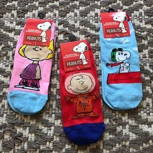3pc! NWT PEANUTS comic graphic cartoon ankle socks